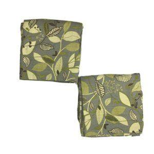 "World Market Pair Curtains Drapes Green Floral 96"""